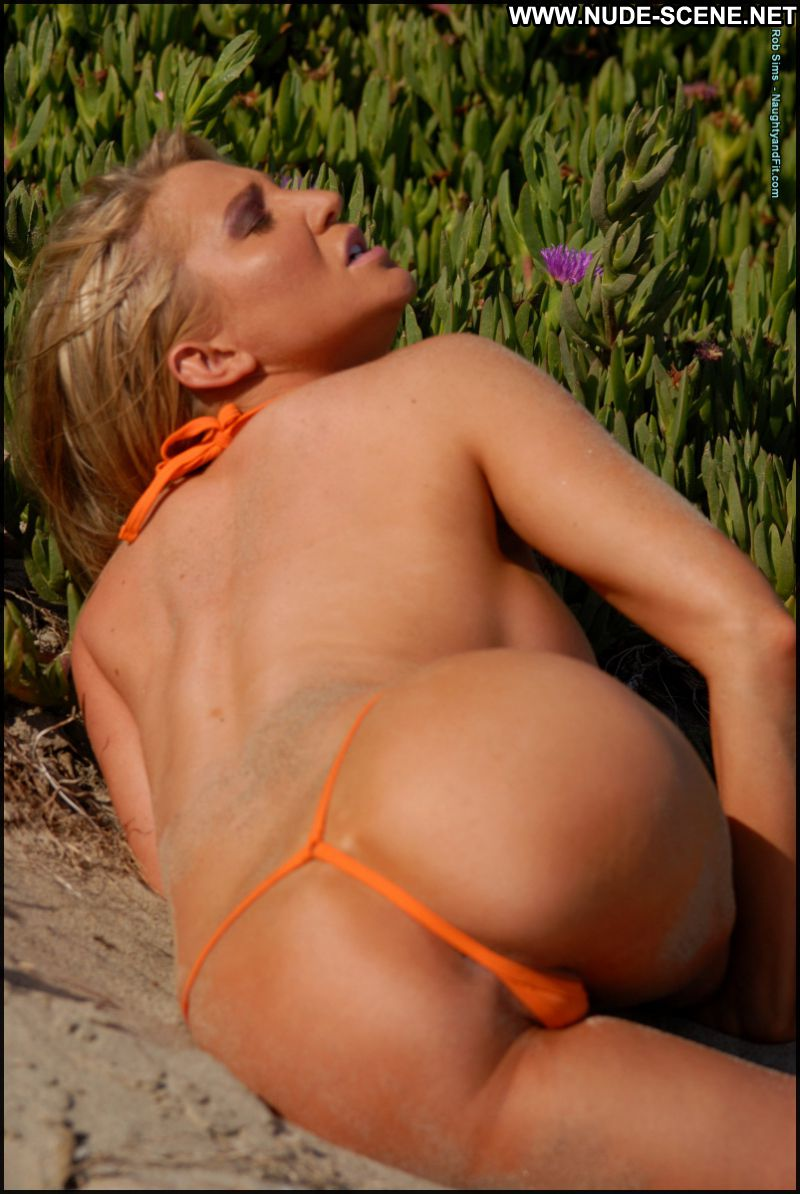 Hot blonde thong bikini beach